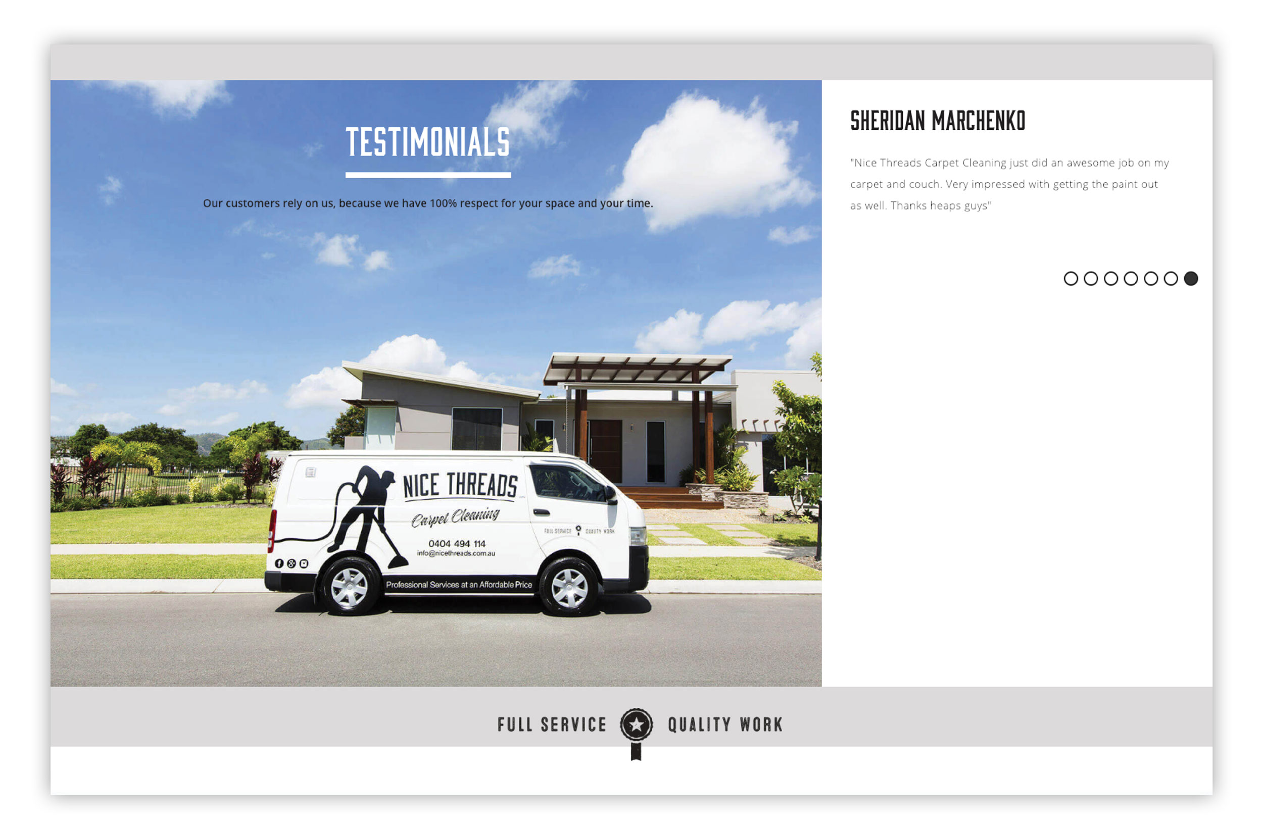 Nice Threads Carpet Cleaning Branding and Web Design