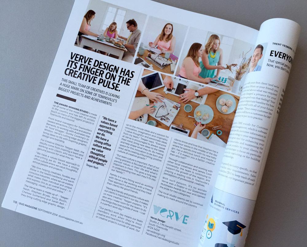Verve article in Duo Magazine