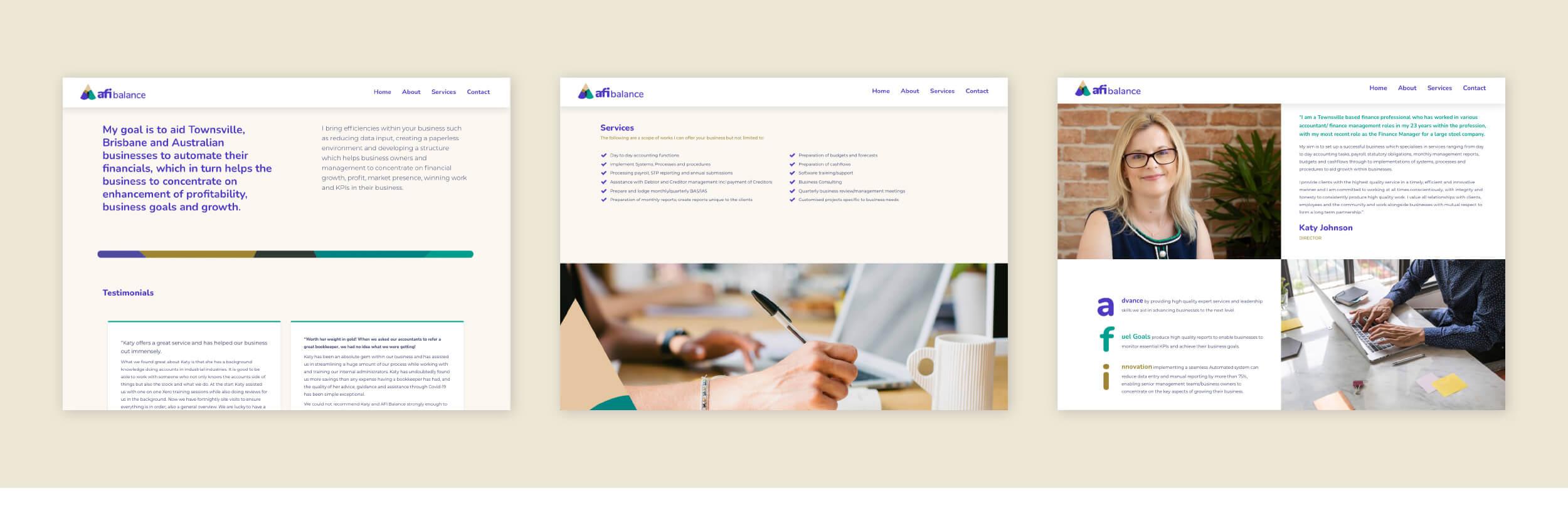 Verve Design example afi balance Web layout